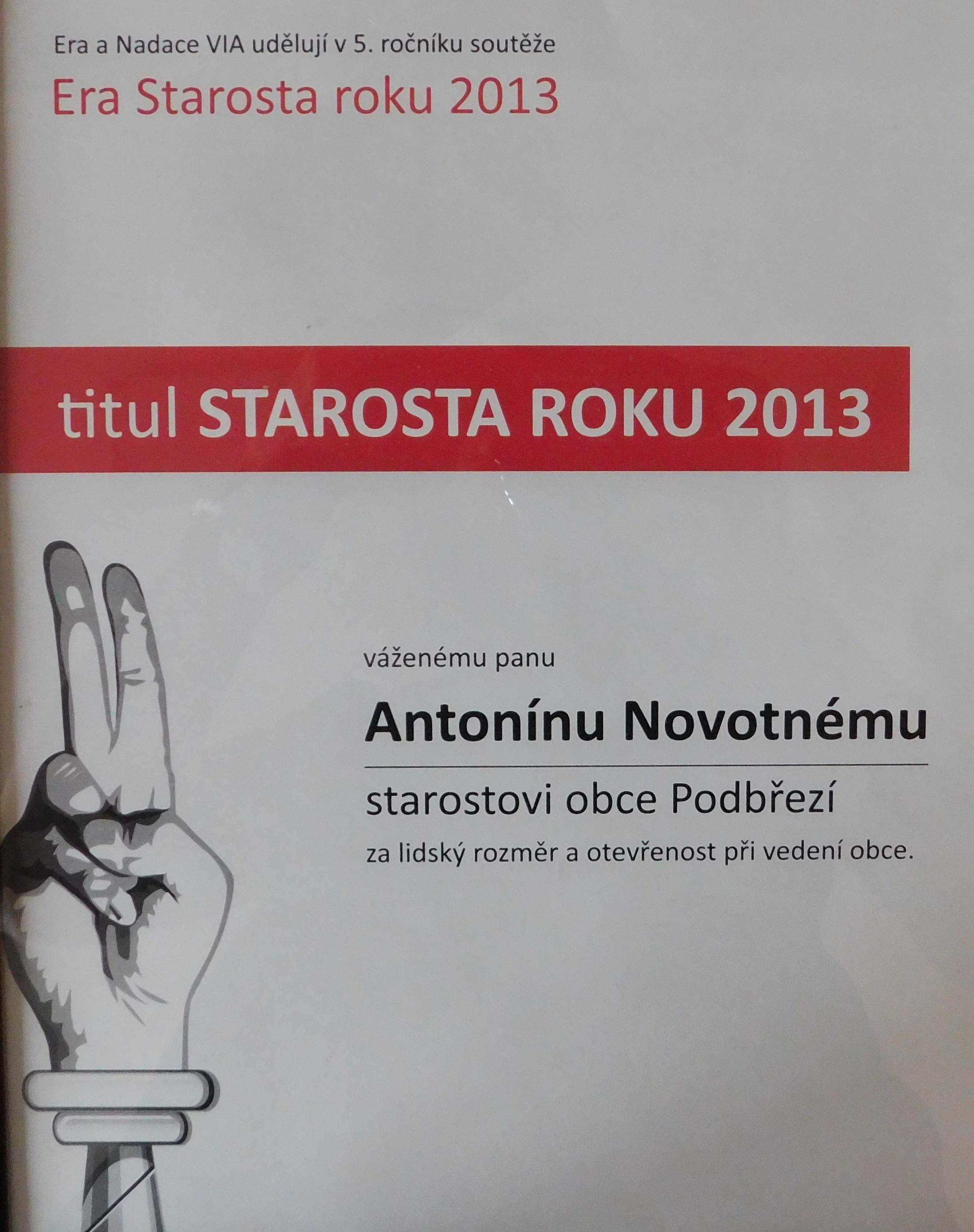 Diplom - Starosta roku 2013