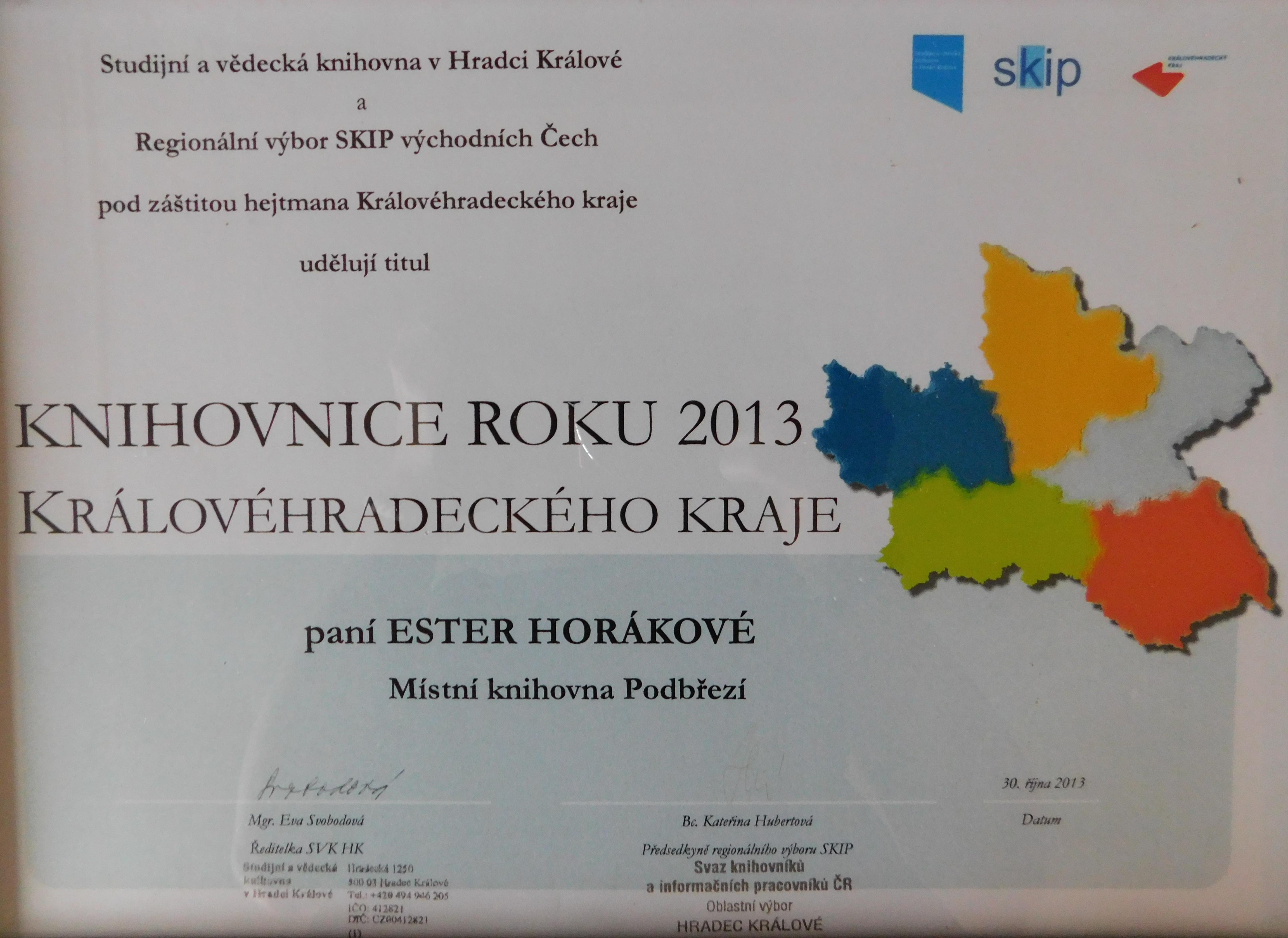 Diplom - Knihovnice roku 2013