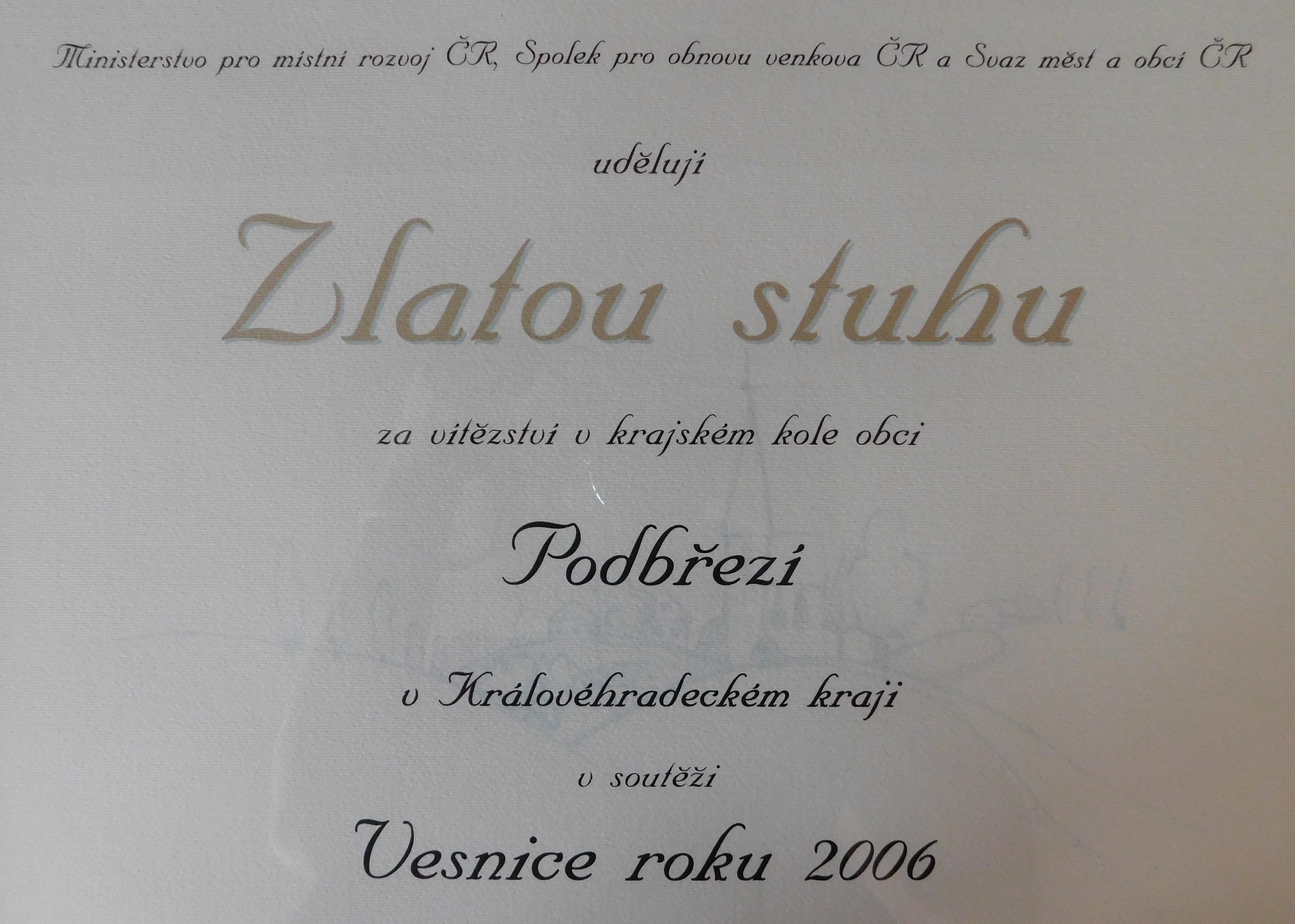 Diplom - Vesnice roku 2006