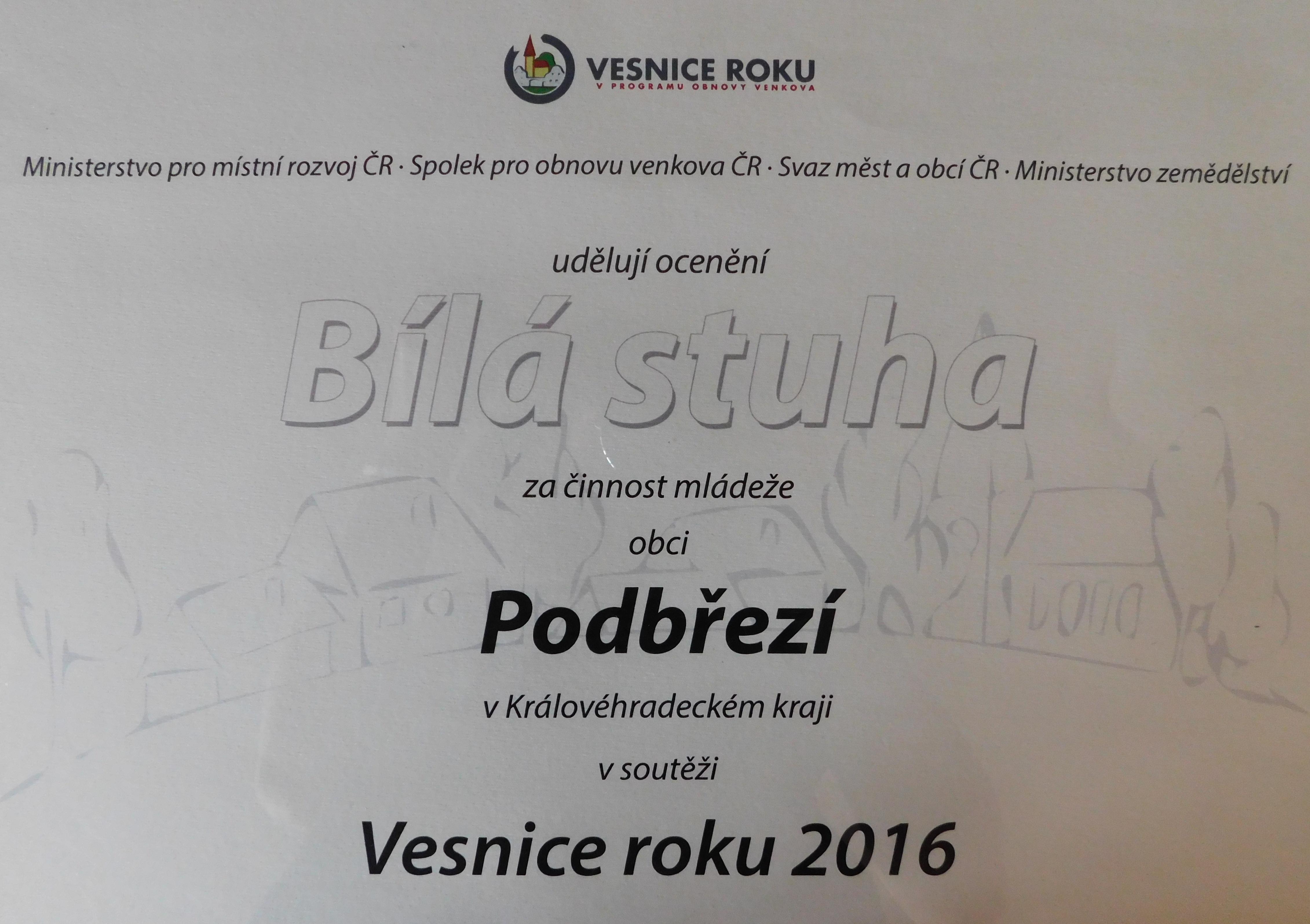 Diplom - Vesnice roku 2016