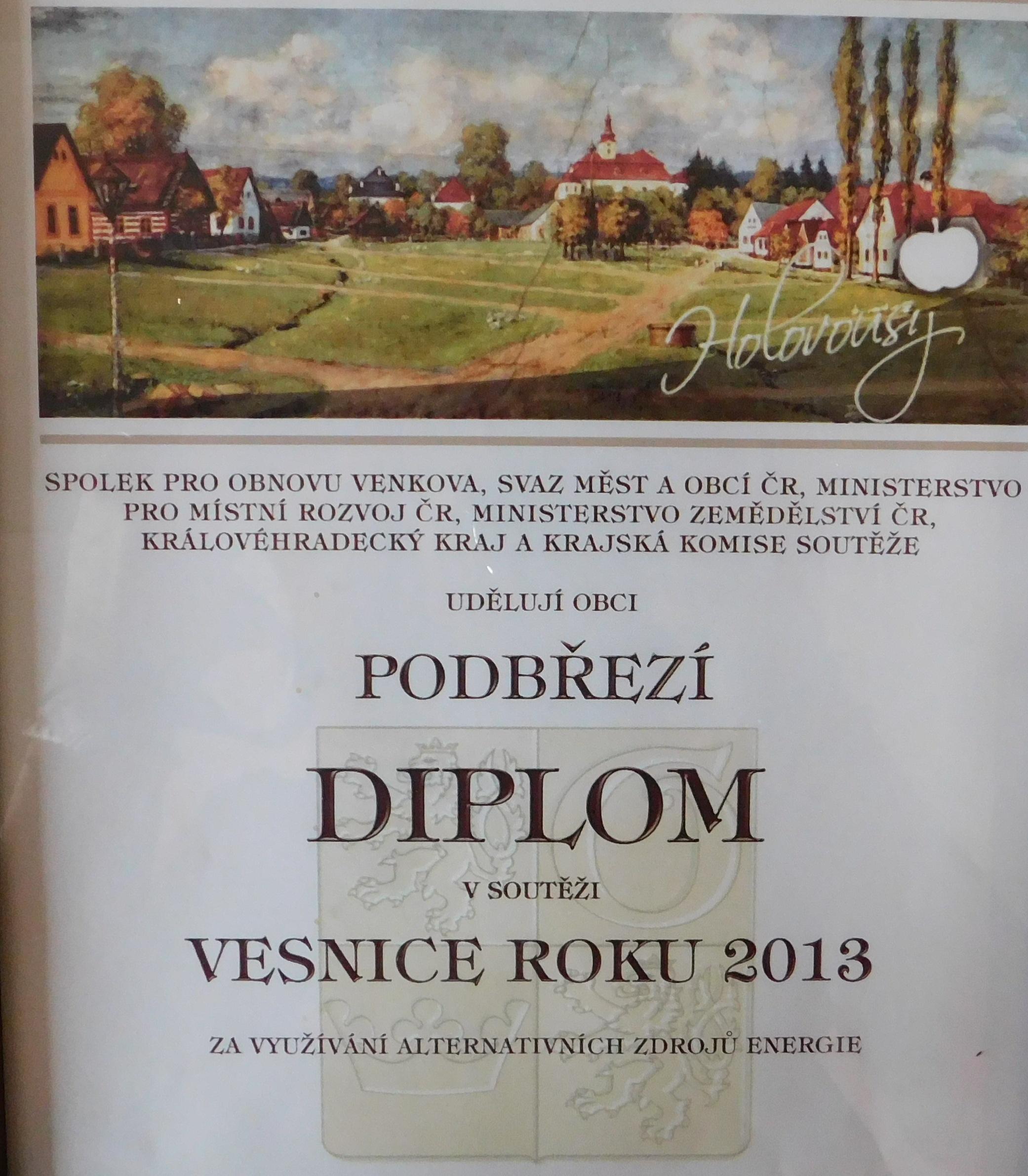 Diplom - Vesnice roku 2013