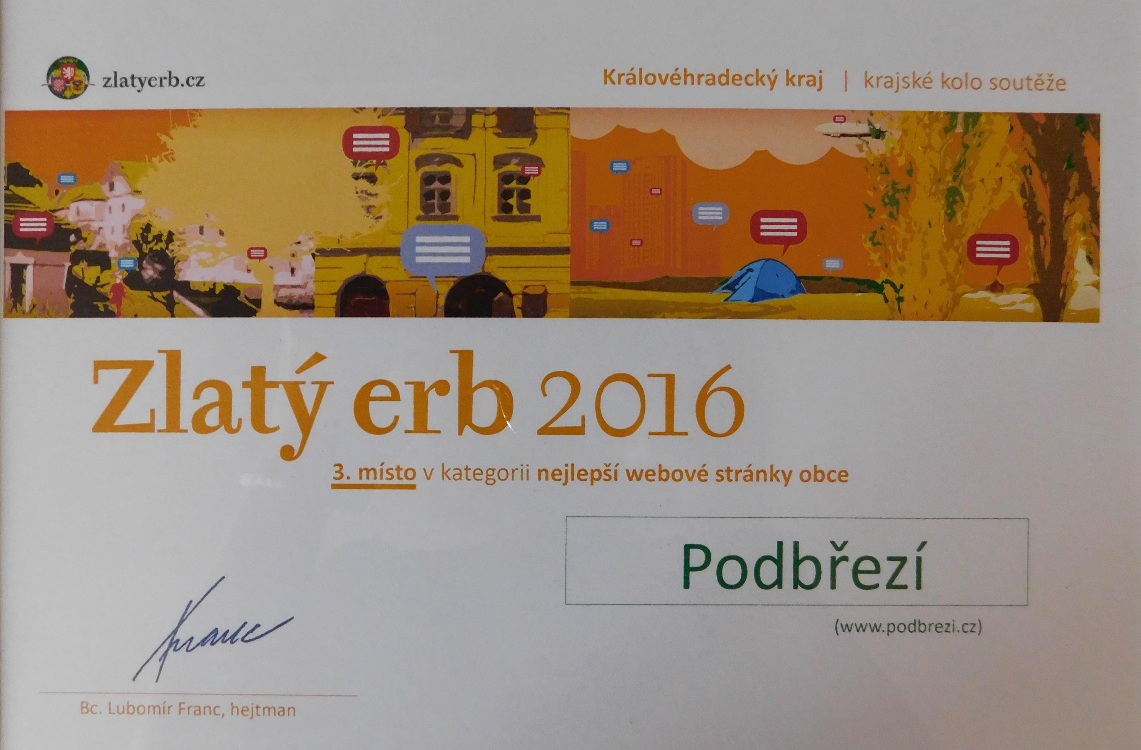 Diplom - Zlatý erb 2016